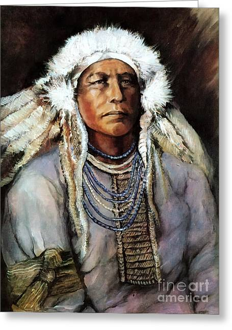 Greeting Card featuring the painting American Indian Chief by Linda Olsen