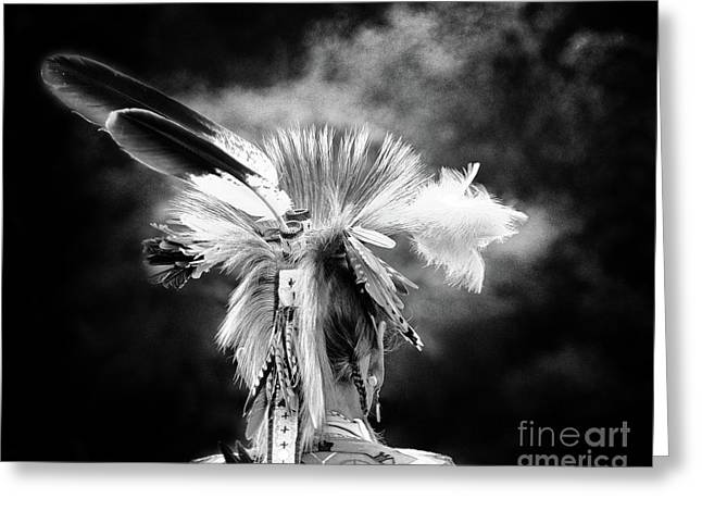American Indian In Black And White Greeting Card by Tom Gari Gallery-Three-Photography