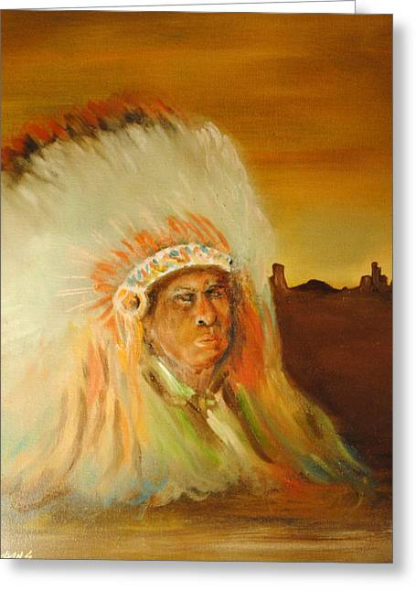 American Indian Greeting Card by James Higgins