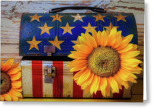 American Lunchbox With Sunflower Greeting Card