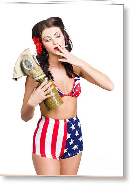 American Military Pin Up Girl Holding Gasmask  Greeting Card by Jorgo Photography - Wall Art Gallery