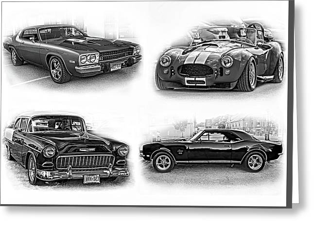 American Muscle Collage Bw Greeting Card