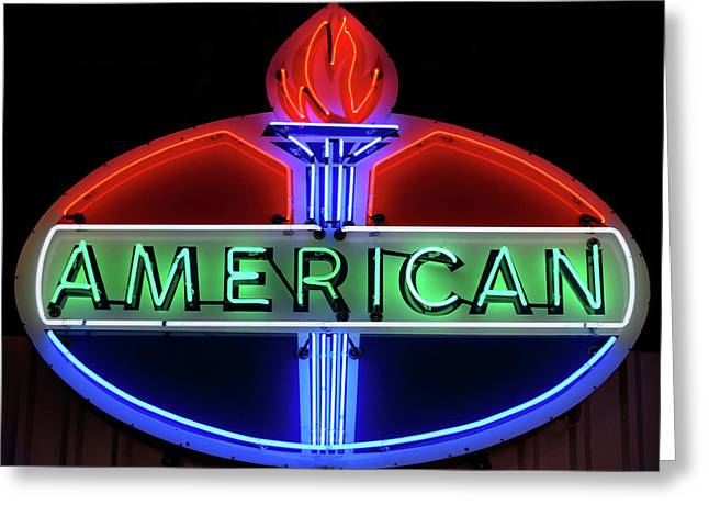 Greeting Card featuring the photograph American Oil Sign by Sandy Keeton
