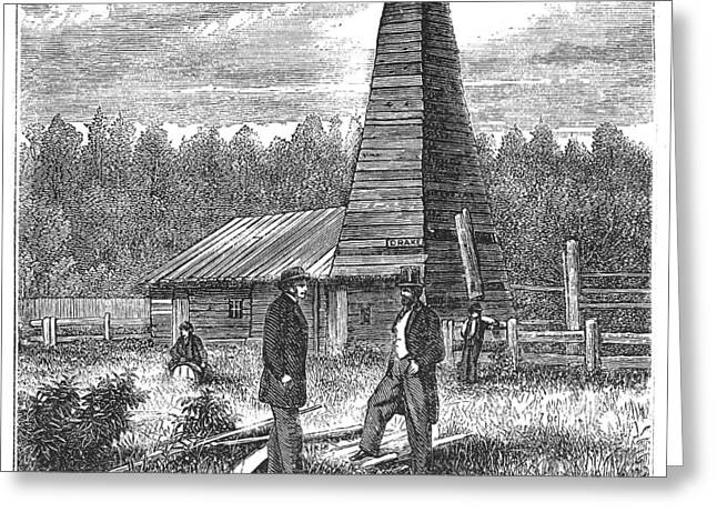 Titusville Greeting Cards - American Oil Well, 1859 Greeting Card by Granger