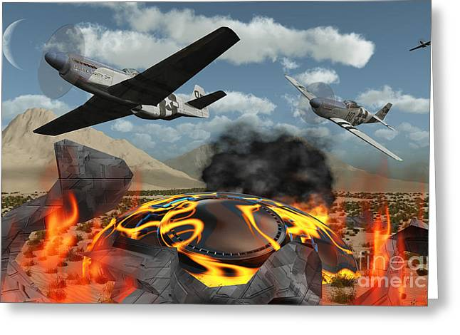 American P-51 Mustang Fighter Planes Greeting Card by Mark Stevenson