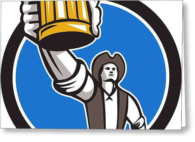 American Patriot Craft Beer Mug Toasting Circle Retro Greeting Card