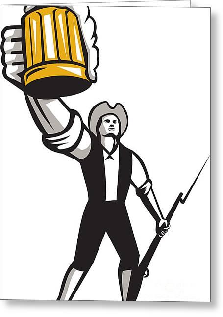 American Patriot Craft Beer Musket Bayonet Retro Greeting Card by Aloysius Patrimonio