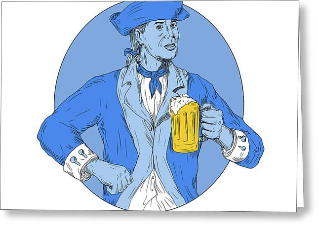 American Patriot Holding Beer Mug Oval Drawing Greeting Card
