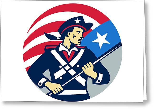 American Patriot Holding Brandish Usa Flag Circle Retro Greeting Card