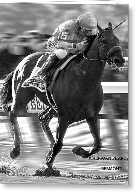 American Pharoah And Victor Espinoza Win The 2015 Belmont Stakes Greeting Card by Thomas Pollart