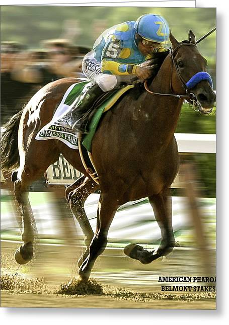 American Pharoah And Victory Espinoza Win The 2015 Belmont Stakes Greeting Card by Thomas Pollart