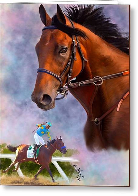 American Pharoah Greeting Card by Becky Herrera