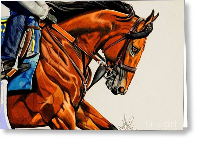 American Pharoah - Triple Crown Winner In White Greeting Card