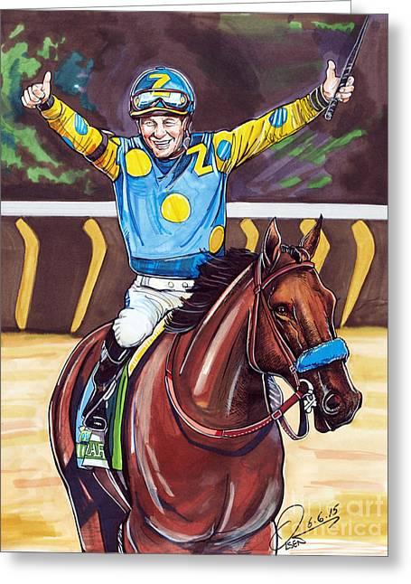 American Pharoah The Triple Crown Greeting Card by Dave Olsen