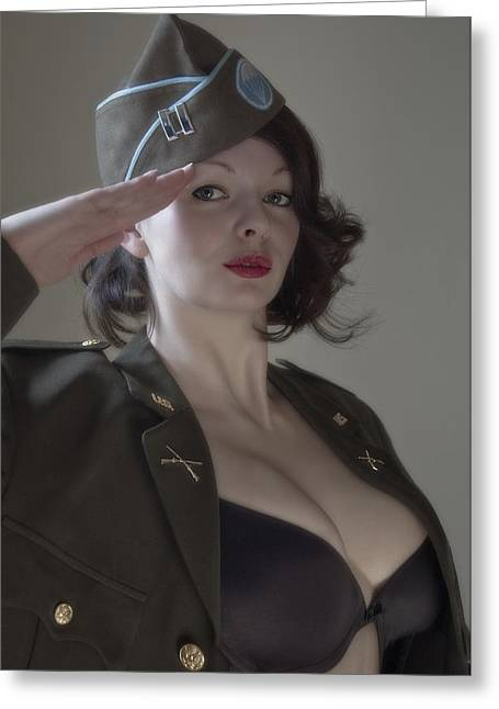 Gi Photographs Greeting Cards - american Pin Up 3 Greeting Card by Mark H Roberts