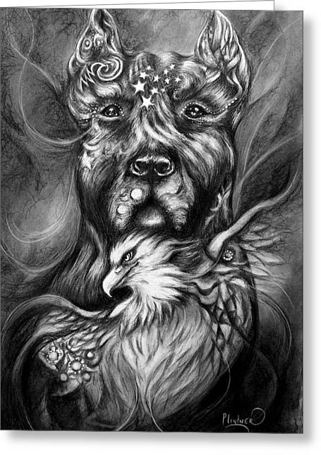 American Pitbull Greeting Card by Patricia Lintner