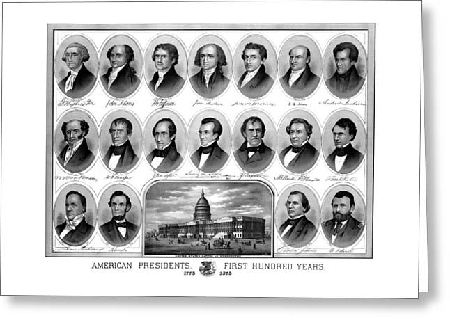 Americana Drawings Greeting Cards - American Presidents First Hundred Years Greeting Card by War Is Hell Store