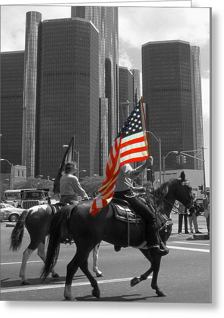 American Pride - Detroit Highlight Greeting Card by Art America Gallery Peter Potter