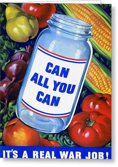 American Propaganda Poster Promoting Canned Food Greeting Card by American School
