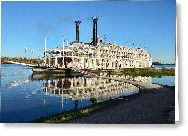 American Queen Steamboat Reflections On The Mississippi River Greeting Card by David Lawson