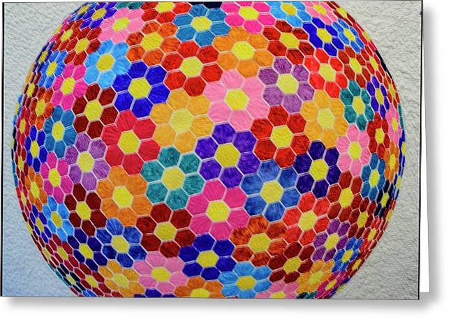 American Quilt Flower Ball Greeting Card