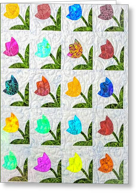American Quilt  Tulips Greeting Card