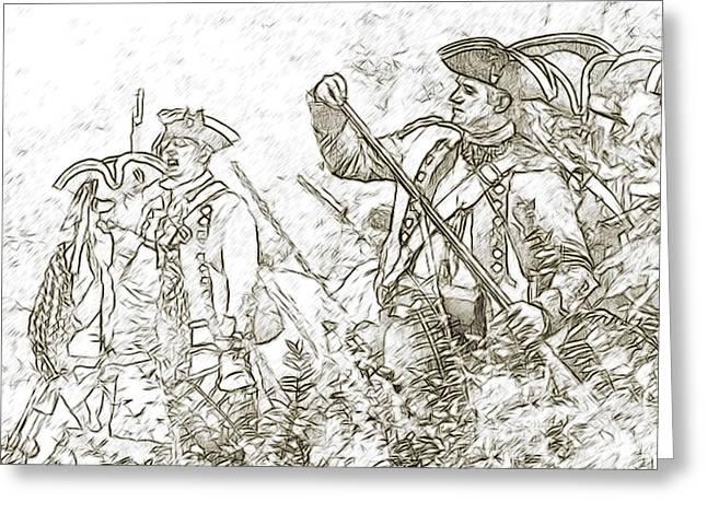 American Revolution Battle Sketch Greeting Card by Randy Steele