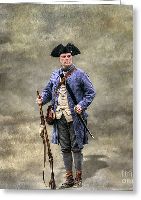 American Revolution Colonial Militia Soldier Greeting Card by Randy Steele