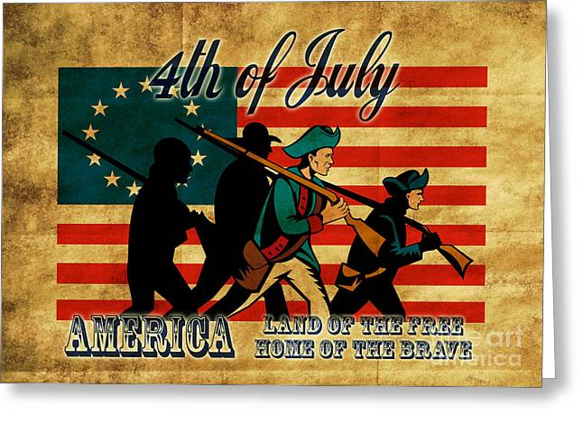 American Revolution Soldier Marching Greeting Card by Aloysius Patrimonio