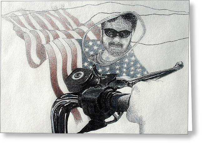 American Rider Greeting Card by Tony Ruggiero