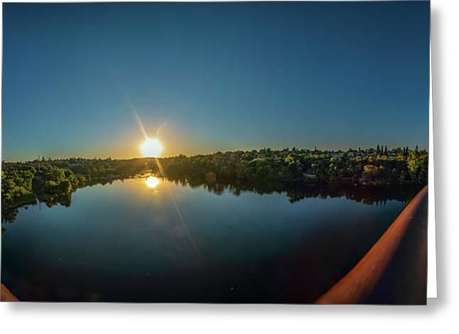 American River At Sunrise - Panorama Greeting Card