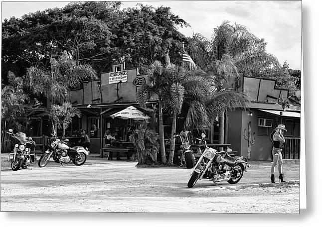 Greeting Card featuring the photograph American Roadhouse Bw by Laura Fasulo