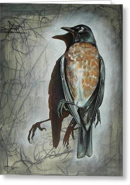 Greeting Card featuring the mixed media American Robin by Sheri Howe