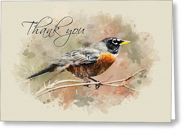 American Robin Watercolor Thank You Card Greeting Card by Christina Rollo