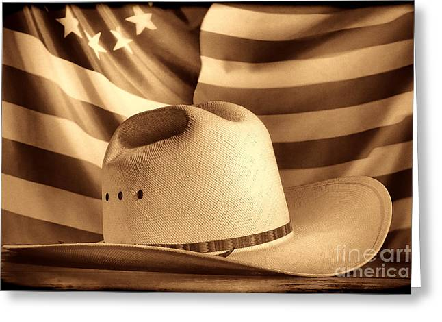 American Rodeo Cowboy Hat Greeting Card