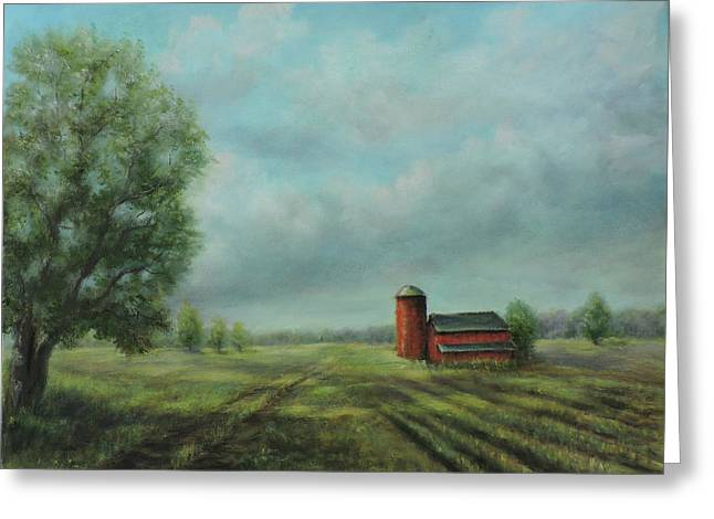 Greeting Card featuring the painting American Scene Red Barn  by Katalin Luczay