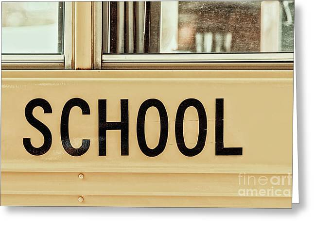 American School Bus Sign Greeting Card