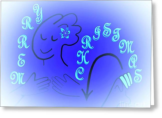 American Sign Language Merry Christmas Blue Version Greeting Card