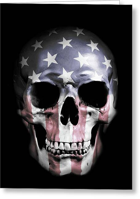 American Skull Greeting Card by Nicklas Gustafsson