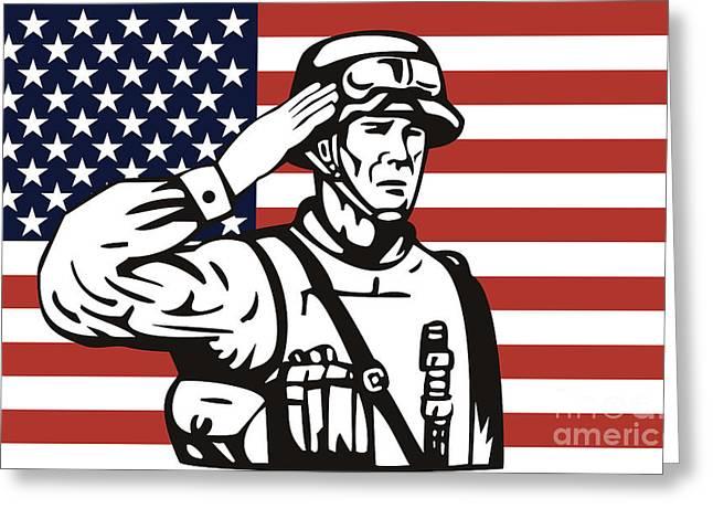 American Soldier Saluting Flag Greeting Card by Aloysius Patrimonio