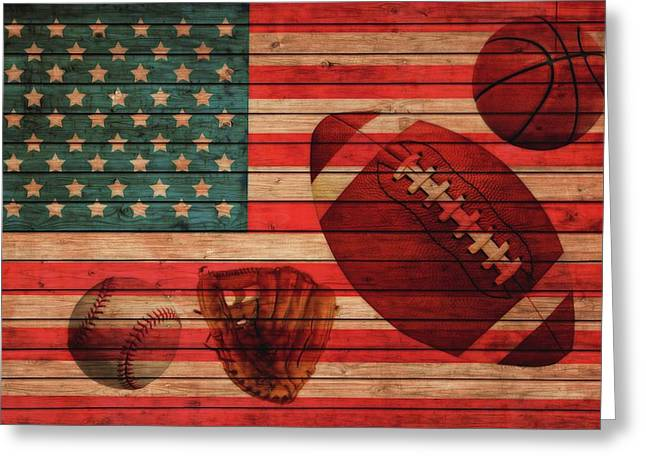American Sports Barn Door Greeting Card