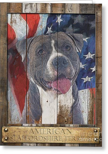 American Staffordshire Terrier Flag Poster 2 Greeting Card by Tim Wemple