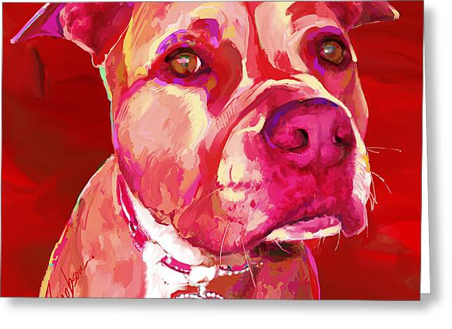 American Staffordshire Terrier Greeting Card by Jackie Jacobson