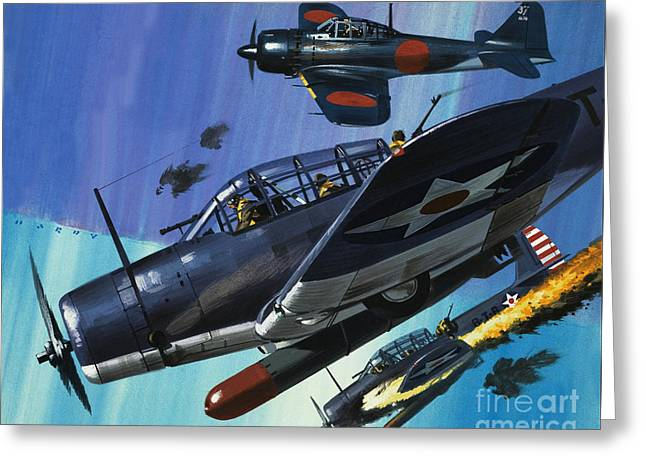 American Torpedo Planes Of World War Two Greeting Card by Wilf Hardy