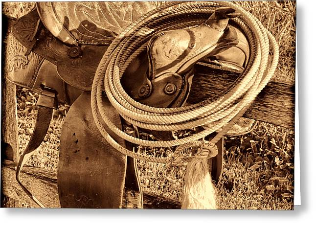 American West Legend Rodeo Western Lasso On Saddle Greeting Card by American West Legend By Olivier Le Queinec