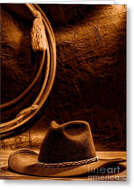 American West Rodeo Cowboy Hat And Lasso - Sepia Greeting Card