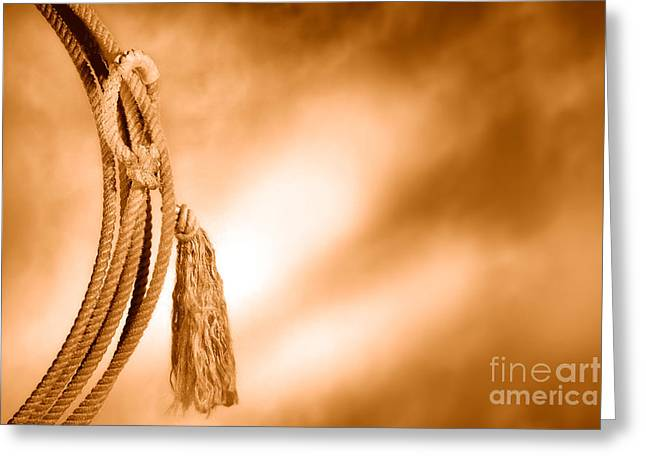 American West Rodeo Cowboy Lariat - Sepia Greeting Card by Olivier Le Queinec