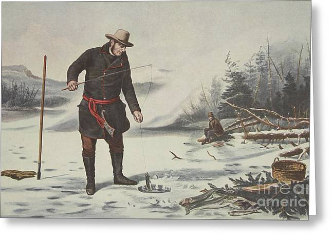 American Winter Sports  Trout Fishing On Chateaugay Lake Greeting Card