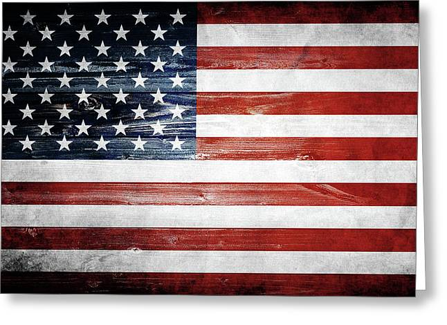 American Wooden Flag Greeting Card