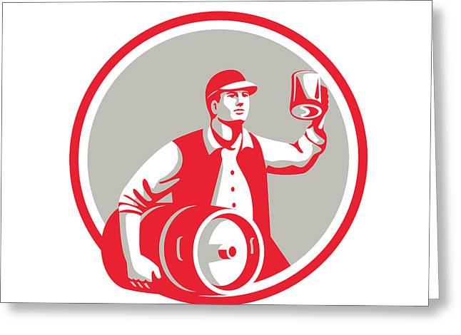 American Worker Keg Toast Beer Mug Circle Retro Greeting Card